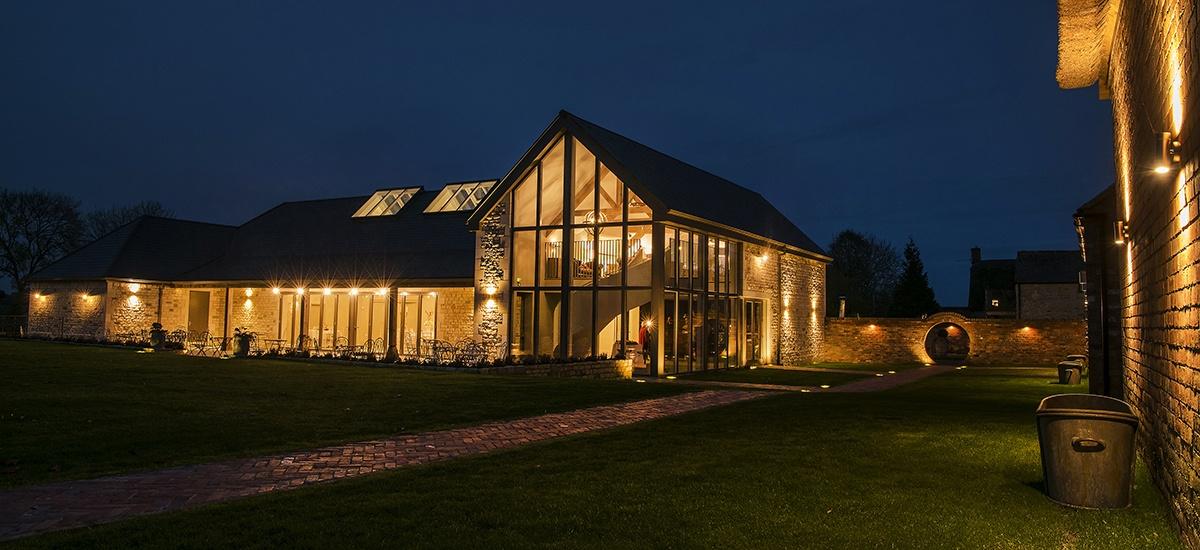 Blackwell Grange wedding venue at night