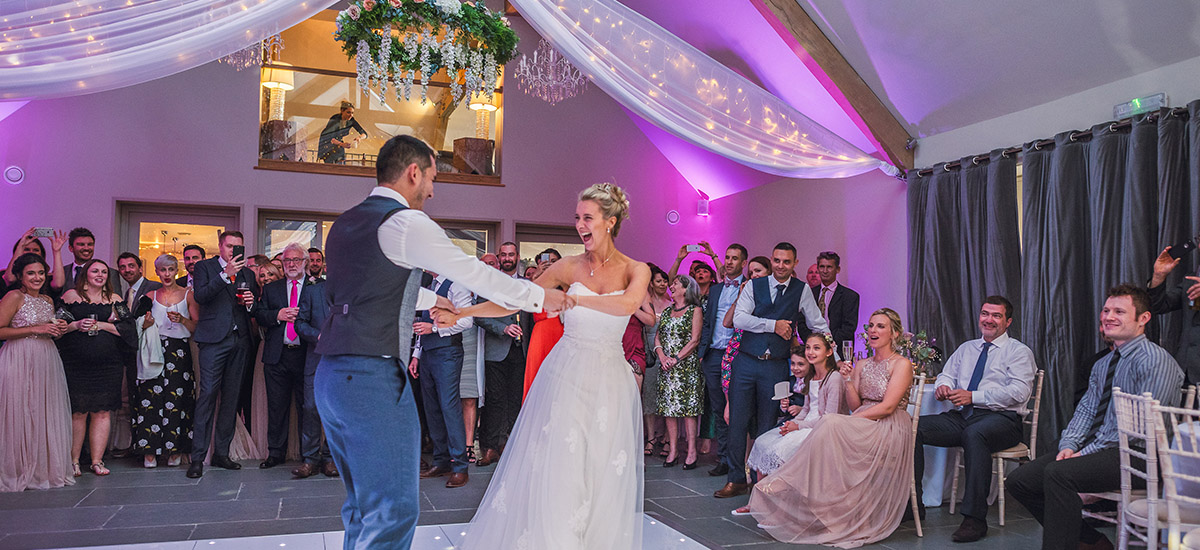The Orchard Barn converts into a fantastic space for music and dancing after your wedding breakfast